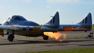 de Havilland Vampire Startup doing Fire Flames