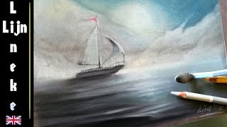 How to draw Mist and Sea - pastel and panpastel drawing
