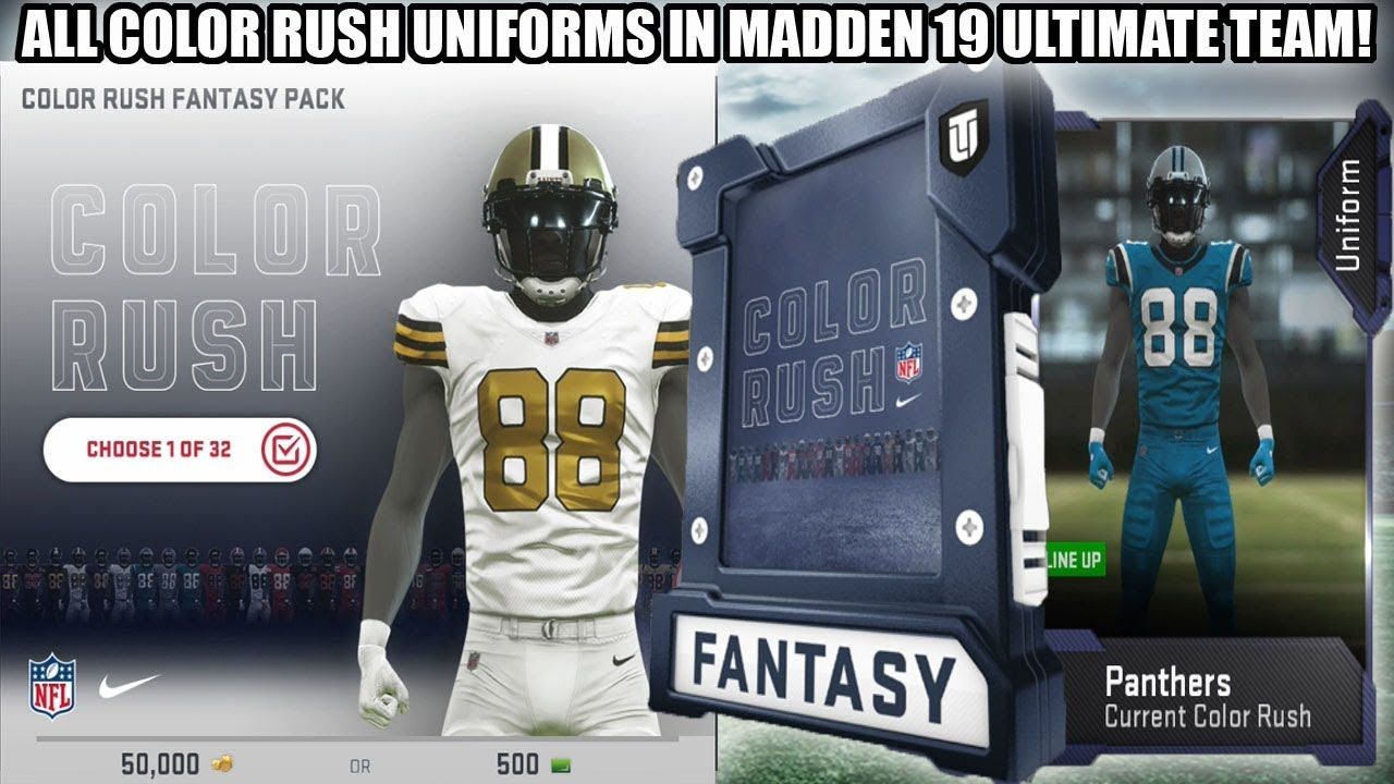 ALL COLOR RUSH UNIFORMS IN MADDEN 19 ULTIMATE TEAM! COLOR RUSH PACK ... d8e5af95b
