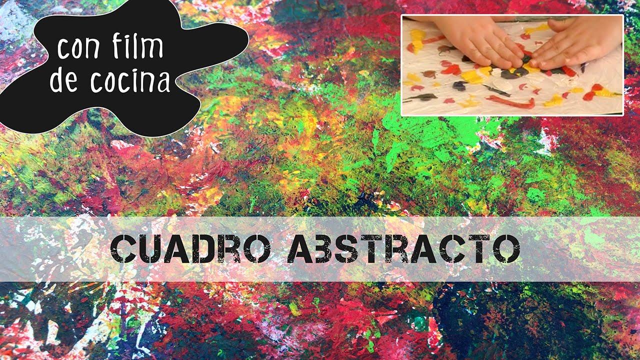 cuadro abstracto con film de cocina dibujo para ni os