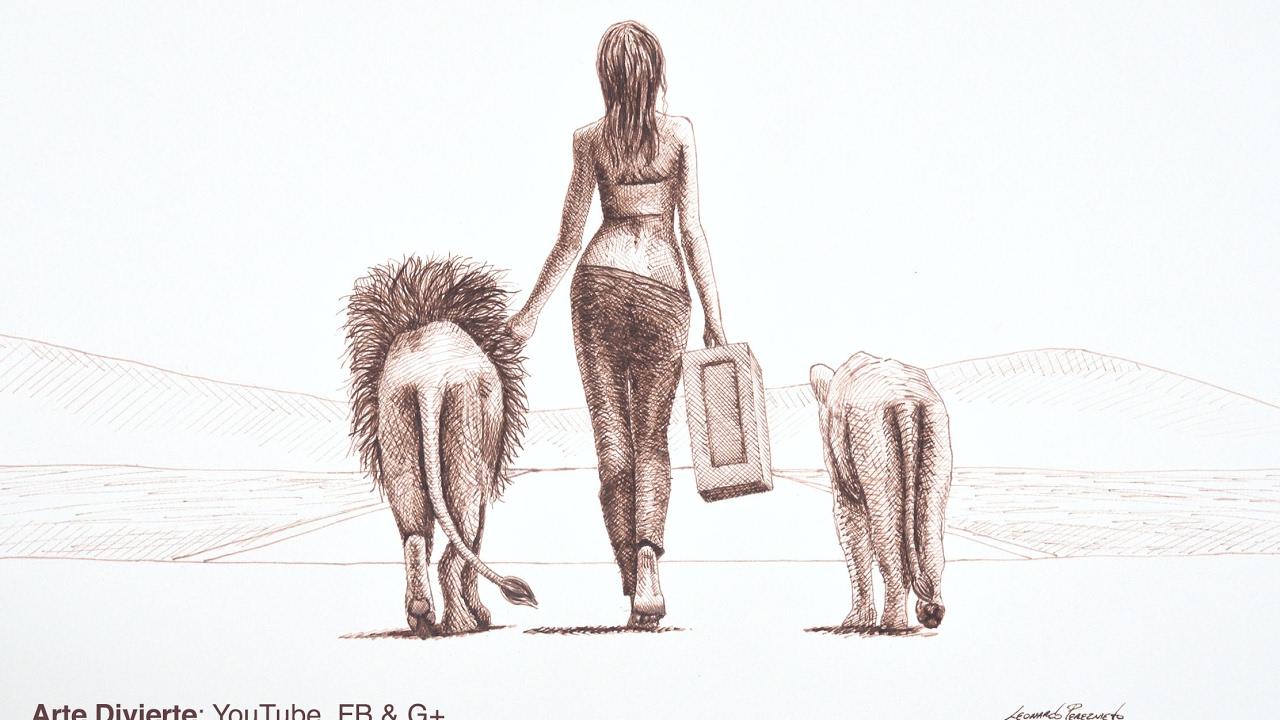 Cmo dibujar una mujer caminando con leones  Trucos y consejos