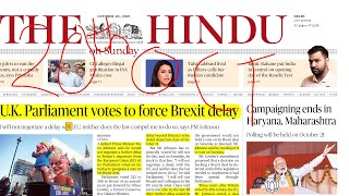 The Hindu Newspaper Analysis 20th October 2019| Daily Current Affairs