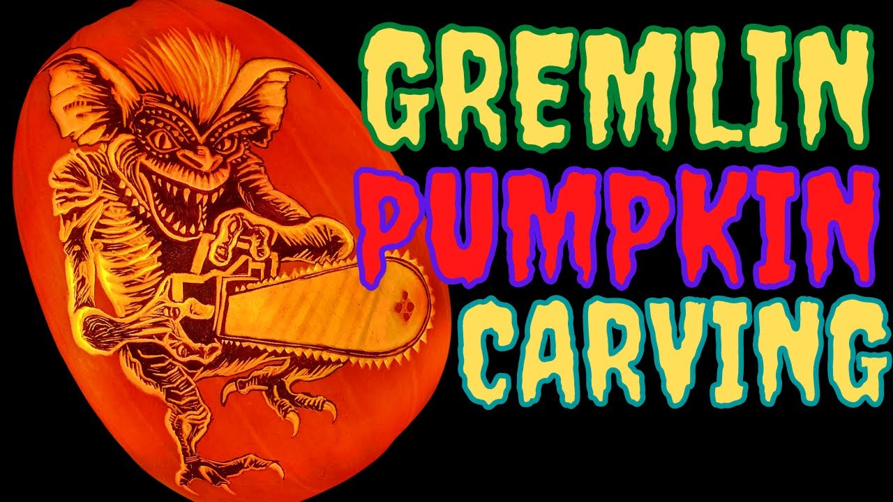 Gremlin Pumpkin carving time lapse
