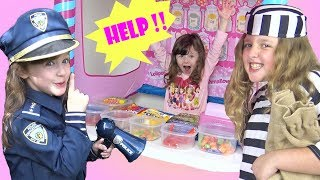COPS AND ROBBERS In The Kid Candy Store ! STOLEN CANDY means Someone's Going to PRISON !