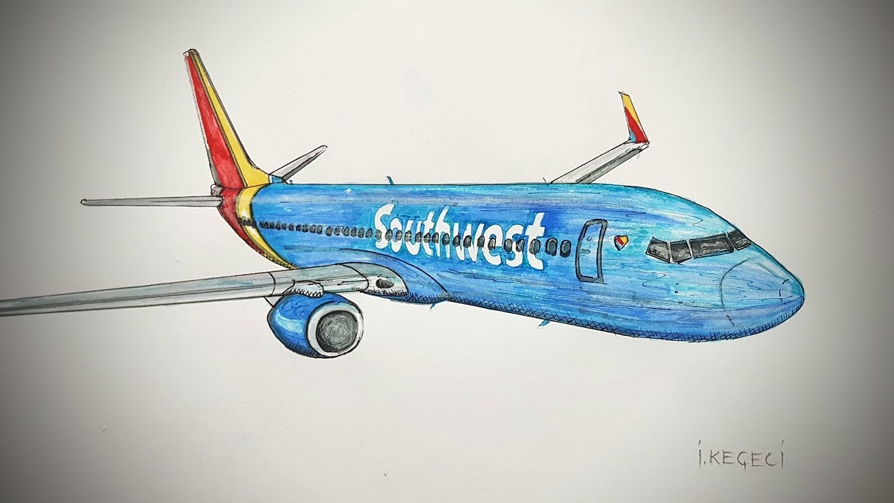 Southwest Airlines,Boeing 737-800, Drawing timelapse