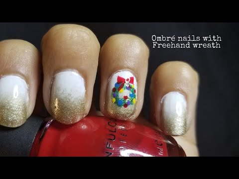 White & Gold Ombré nails with freehand x•mas wreath - YouTube