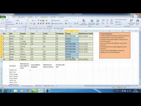 Excel Formüller