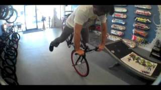 Chad DeGroot inside Mr. Bikes n Boards riding Fixie