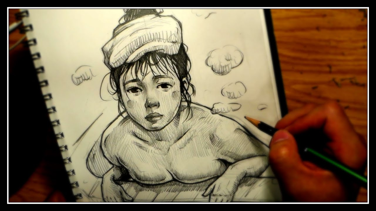 Cute Girl. / Pencil Drawing Technique. / Drawing process(4X speed).