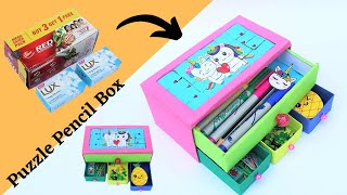 How to make a Puzzle Game Pencil Box with Toothpaste Box & Soapbox/Best out of Waste/DIY Pencil Case