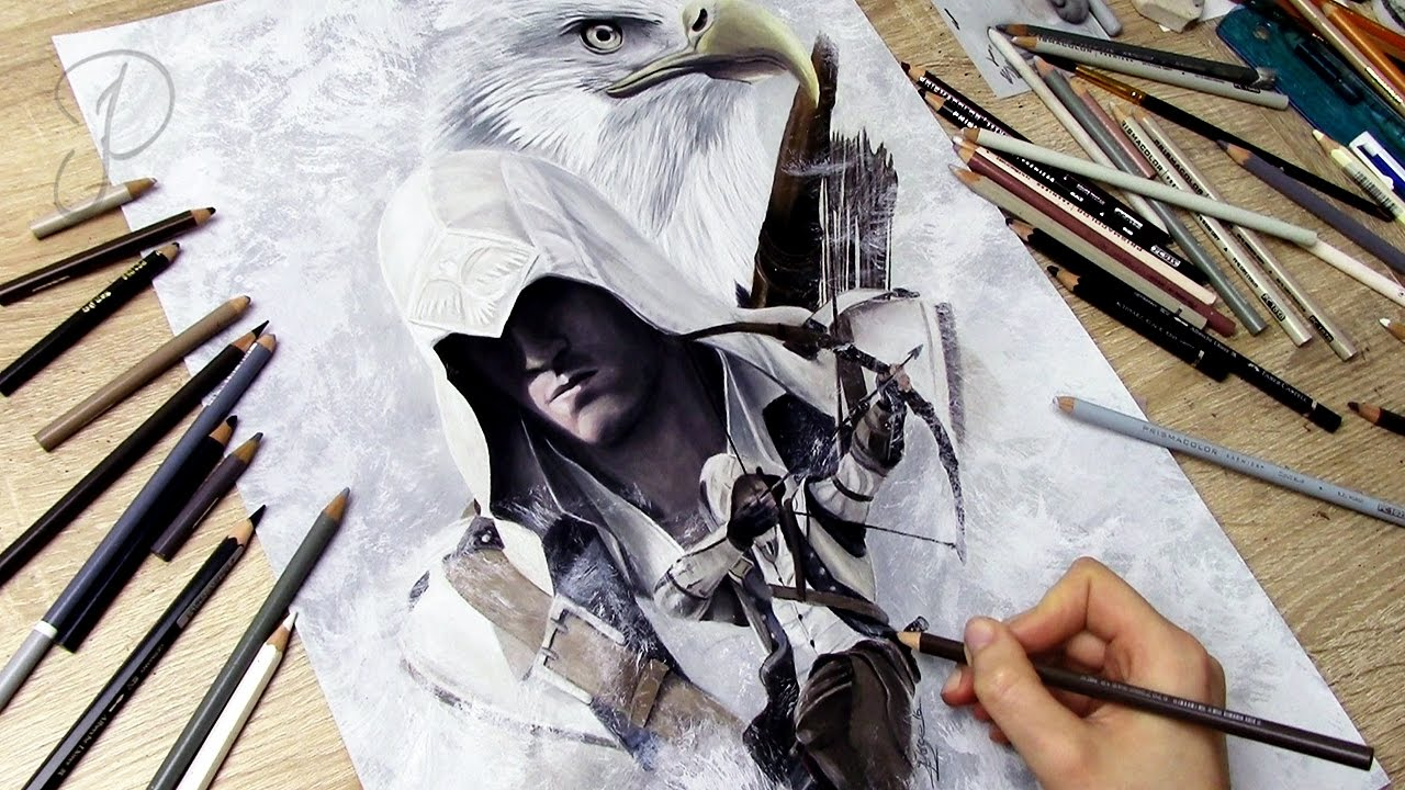 Assassin S Creed Connor Kenway Speedart Painting Drawing Youtube