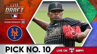 New York Mets Select Kumar Rocker from Vanderbilt with the 10th Pick of the 2021 MLB Draft