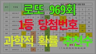 로또 969회 1등 당첨번호 과확적 확률에 따른 추천수