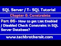 How to get List of Enabled / Disabled Check Constraint in SQL Server Database-SQL Server P86