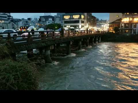 Flooding in Kyoto Japan 2018.07 - Kamo River downtown by Sanjo