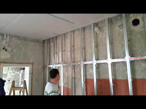 видео: Обшивка на стена от гипсокартон ( тест на cd профили )