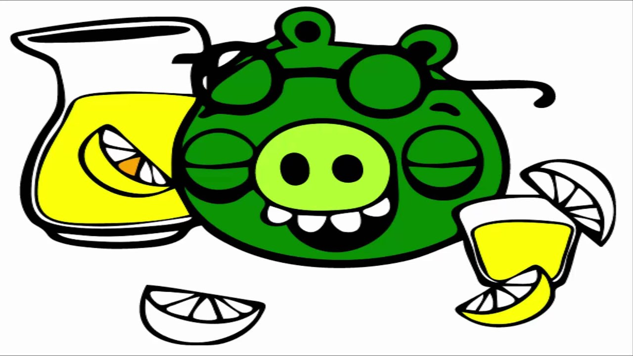 angry birds coloring pages minion pig drink lemon juice youtube
