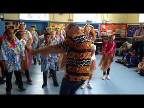 Hula dancing as part of International Week at St George Primary School in Bristol