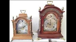 Large Old 8 Day Burl Wood Bracket Clock With Moon Phase & Pendulum