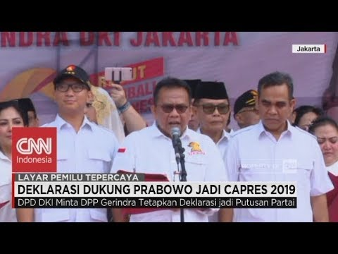 Deklarasi Gerindra Jakarta Dukung Prabowo Jadi Capres 2019