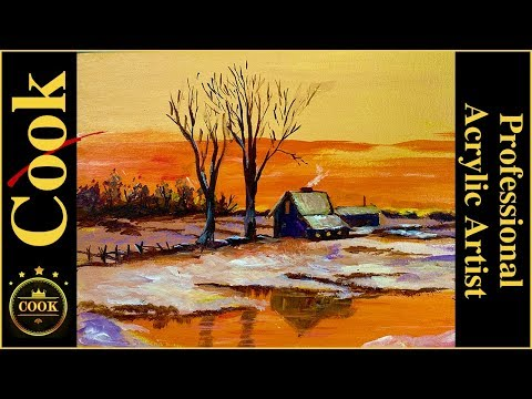 How to Paint a Winter Sunset on the Farm Acrylic Painting Tutorial for Beginner and Advanced Artists thumbnail