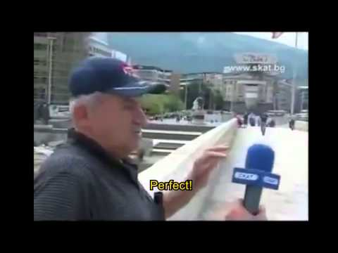 A Bulgarian journalist interviews a person in FYROM.