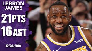 LeBron James puts up impressive double-double on road vs. Trail Blazers | 2019-20 NBA Highlights