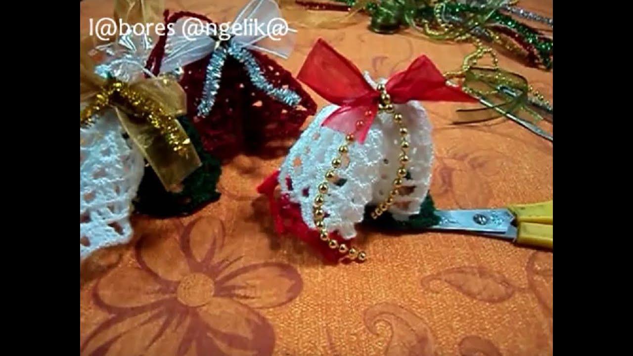 Adornos navide os a ganchillo campanitas labores - Adornos navidenos crochet ...