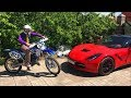 Biker Mr. Joe on Motorcycle Yamaha found Key of Car Corvette & Started Funny Race for Kids