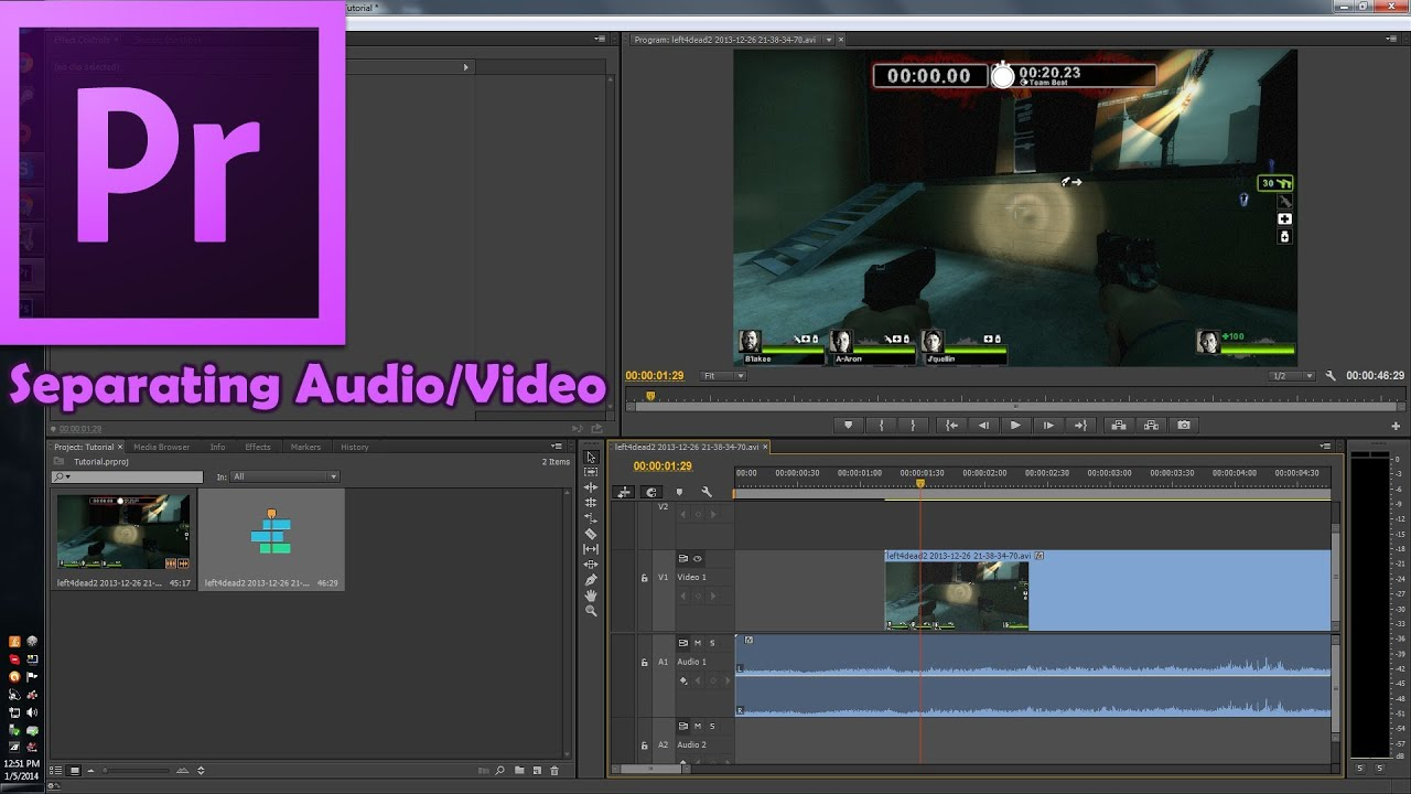 Adobe Premiere Pro CC: How to Separate Audio from Video