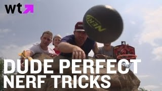 Dude Perfect NERF Tricks Into Dog Poo Baskets | What's Trending Now