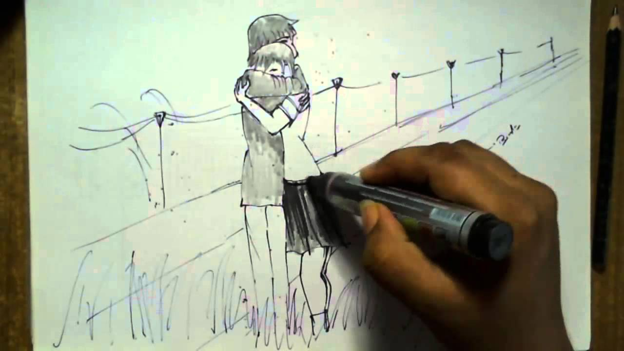 Draw a love birds boy and girl art drawing youtube