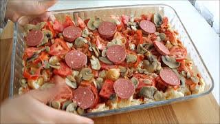 Kahvaltılık doyurucu hamur yoğurmadan yapılan yumurtalı bayat ekmek pizzası | Kahvaltılık tarifler
