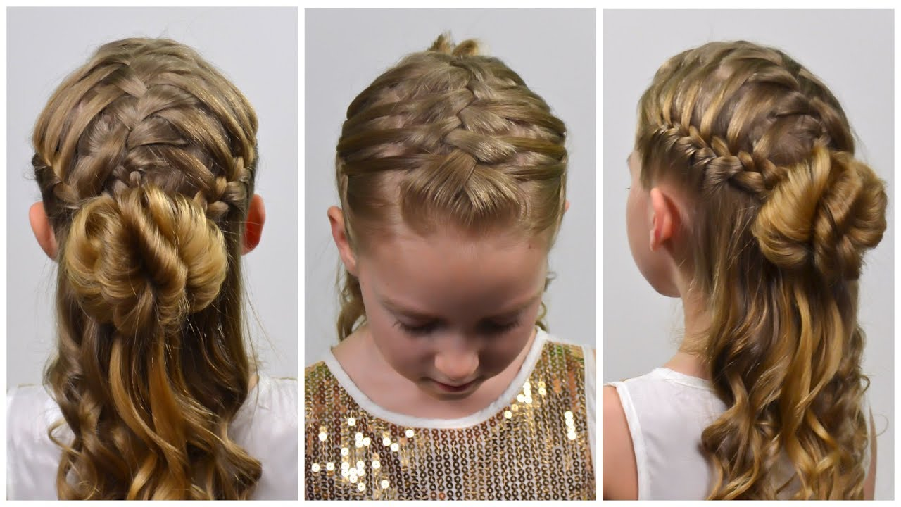 prom 2019! double french braid waterfall & hair bun | half up half down hairstyle for girls
