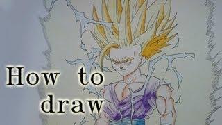 How to Draw Gohan Super Saiyan 2 from Dragon Ball Z by Zaromaru