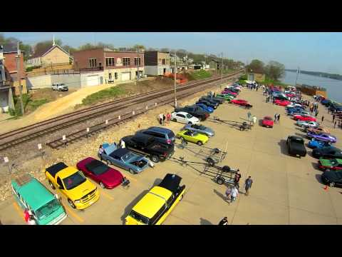Drone Aerial Footage of Cars and Coffee LeClaire Iowa April 18, 2015