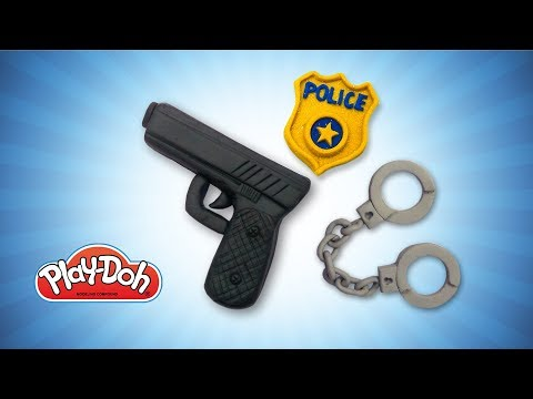 Play Doh Police Stuff for Kids. DIY Toys Gun, Handcuffs & Police Badge. DIY for Kids. Learn Colors
