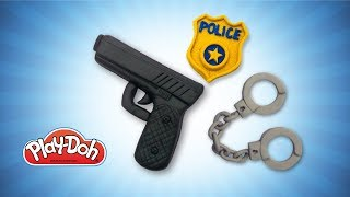 Play Doh Police Stuff for Kids. DIY Toys Gun, Handcuffs & Police Badge