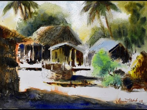 Watercolor landscape demonstration, how to paint a watercolor landscape