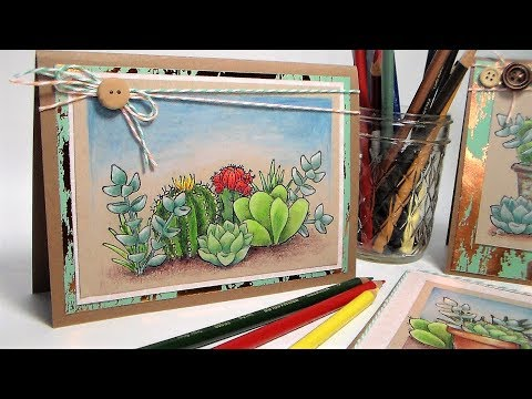Succulent Scenes! {Colored Pencil Tutorial & New Line of Stamps by ME!}