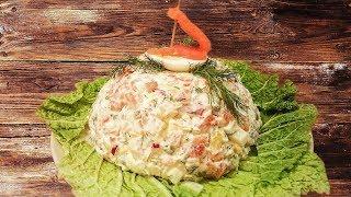 """Салат """"Фрегат"""" с красной рыбой. Очень вкусно!"""