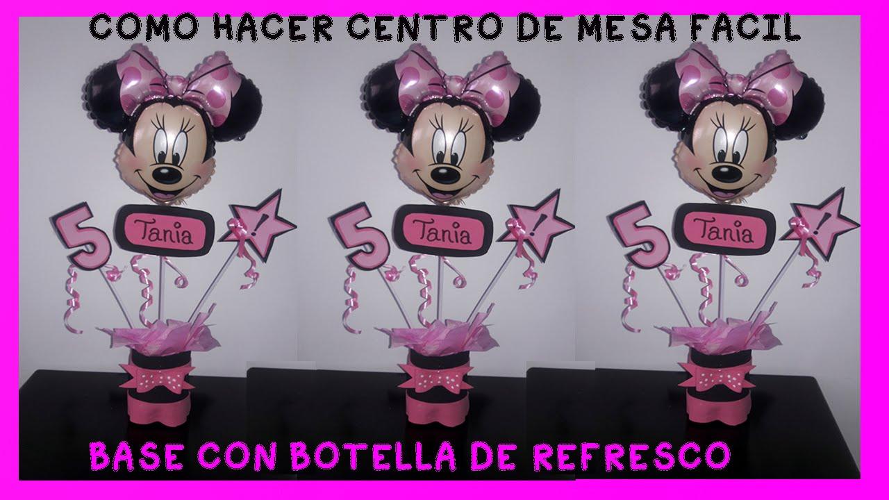 Como hacer centro de mesa minnie mouse rosa con botellas - Centros de mesa con botellas ...