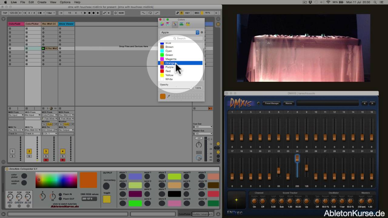 Control dmx lights and colours within Ableton Live ( + Max for Live )