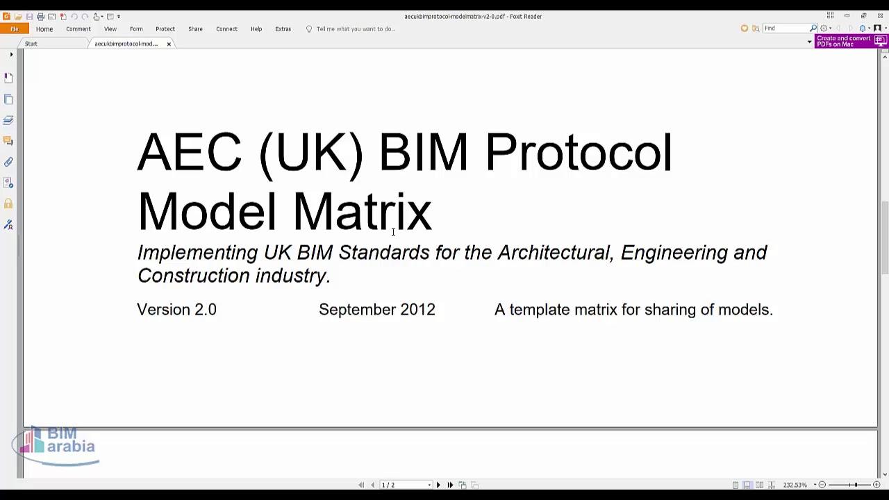 AEC UK BIM Protocol Model Matrix – BIMarabia