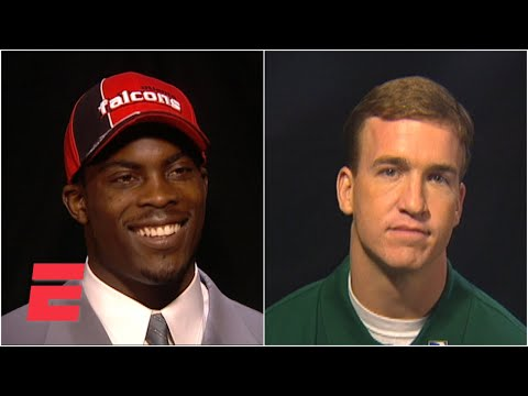 Michael Vick being interviewed by Peyton Manning during Draft Day