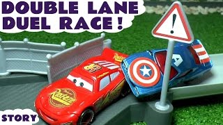 Disney Cars Toys Duel Race McQueen vs Captain America Hulk Superman Family Fun Video for kids TT4U(Disney Cars Carbon Racers Double Lane Duel Race Play set. Here our toy story shows McQueen racing against Captain America Hulk Iron Man and Superman ..., 2016-09-06T15:06:36.000Z)