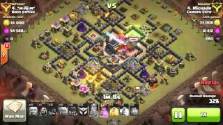 Clash of Clans●Th9 3 star's Th10☆Double spell flex