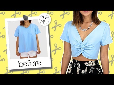 ba163a10dfd DIY T-Shirt Transformed into Twisted Crop Top | Coolirpa - YouTube