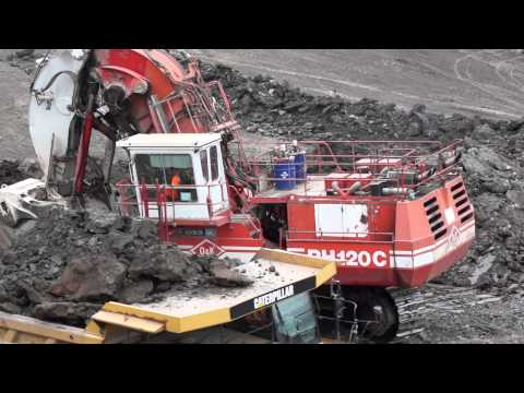 The early stages in a new opencast coal mine within The Northumbrian Coal Fied in the UK.