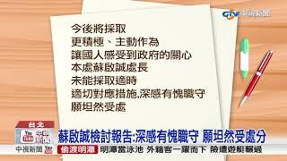 民眾爆料:蘇啟誠檢討報告 深感愧對職守│中視新聞 20180919